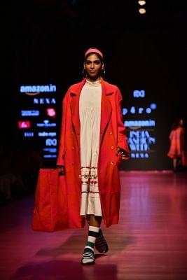 New Delhi: A model showcase creations of fashion designer Pero during Amazon India Fashion Week in New Delhi, on March 17, 2018. (Photo: Amlan Paliwal/IANS)