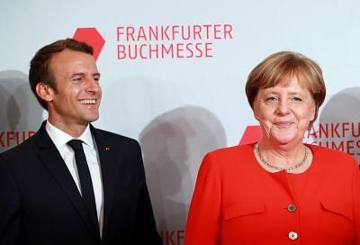 German Chancellor Angela Merkel (R) and French President Emmanuel Macron. (Xinhua/Luo Huanhuan/IANS)