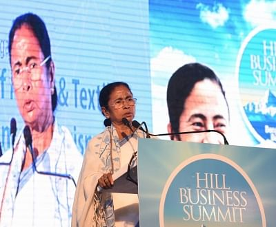 Darjeeling: West Bengal Chief Minister Mamata Banerjee addresses during Hill Business Summit in Darjeeling on March 14, 2018. (Photo: IANS)