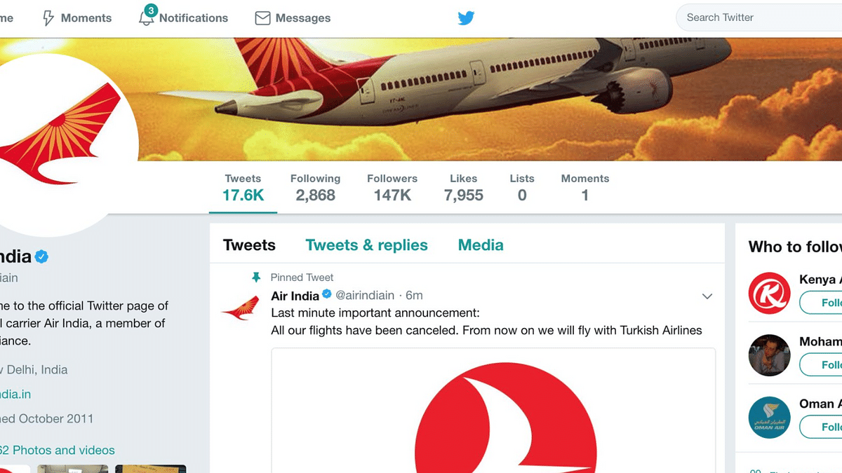 Air India's Twitter Account