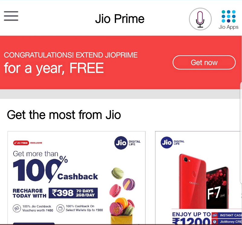 Click on the Get Now button for Jio Prime extension.