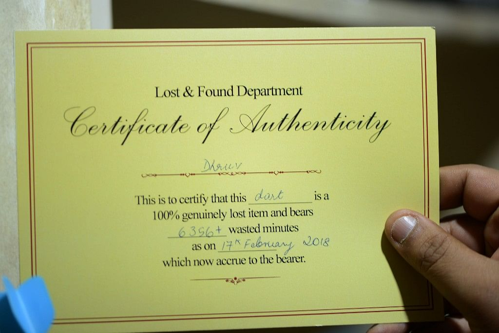 A certificate attached to a 'lost' possession at the Lost & Found Department.
