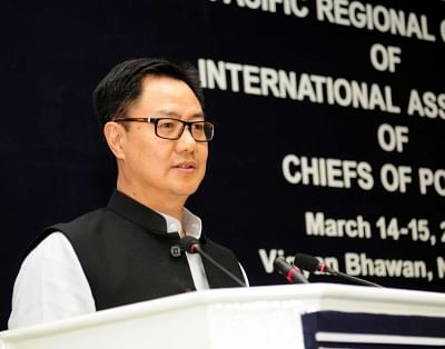New Delhi: Union MoS Home Affairs Kiren Rijiju addresses at the valedictory session of the Asia-Pacific Regional Conference, in New Delhi on March 15, 2018. (Photo: IANS/PIB)