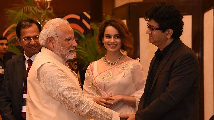 CBFC Chief Prasoon Joshi shakes hands with PM Modi at an event in Delhi.