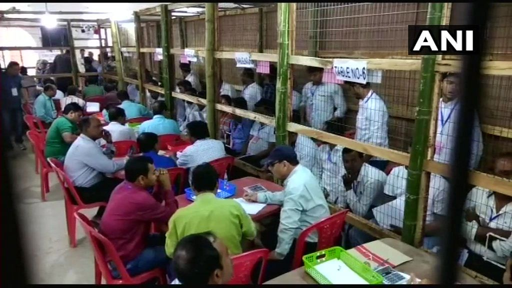 Visuals from a counting booth in Agartala.