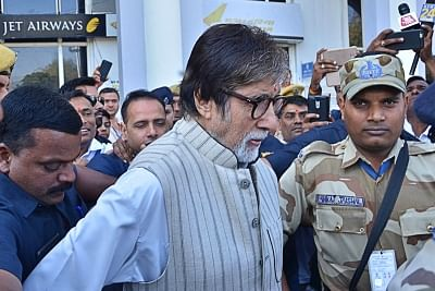 Jodhpur: Actor Amitabh Bachchan arrives for the shooting of his upcoming film