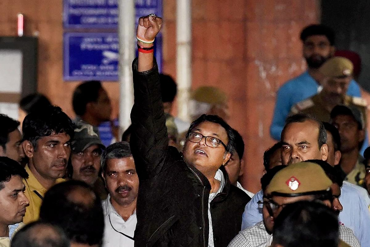 Karti Chidambaram leaves Patiala House Court after he was remanded to five-day CBI custody in the INX Media case, in New Delhi on Thursday.