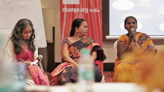 Rama Devi (right) speaks at a workshop on commercial sexual exploitation of children.