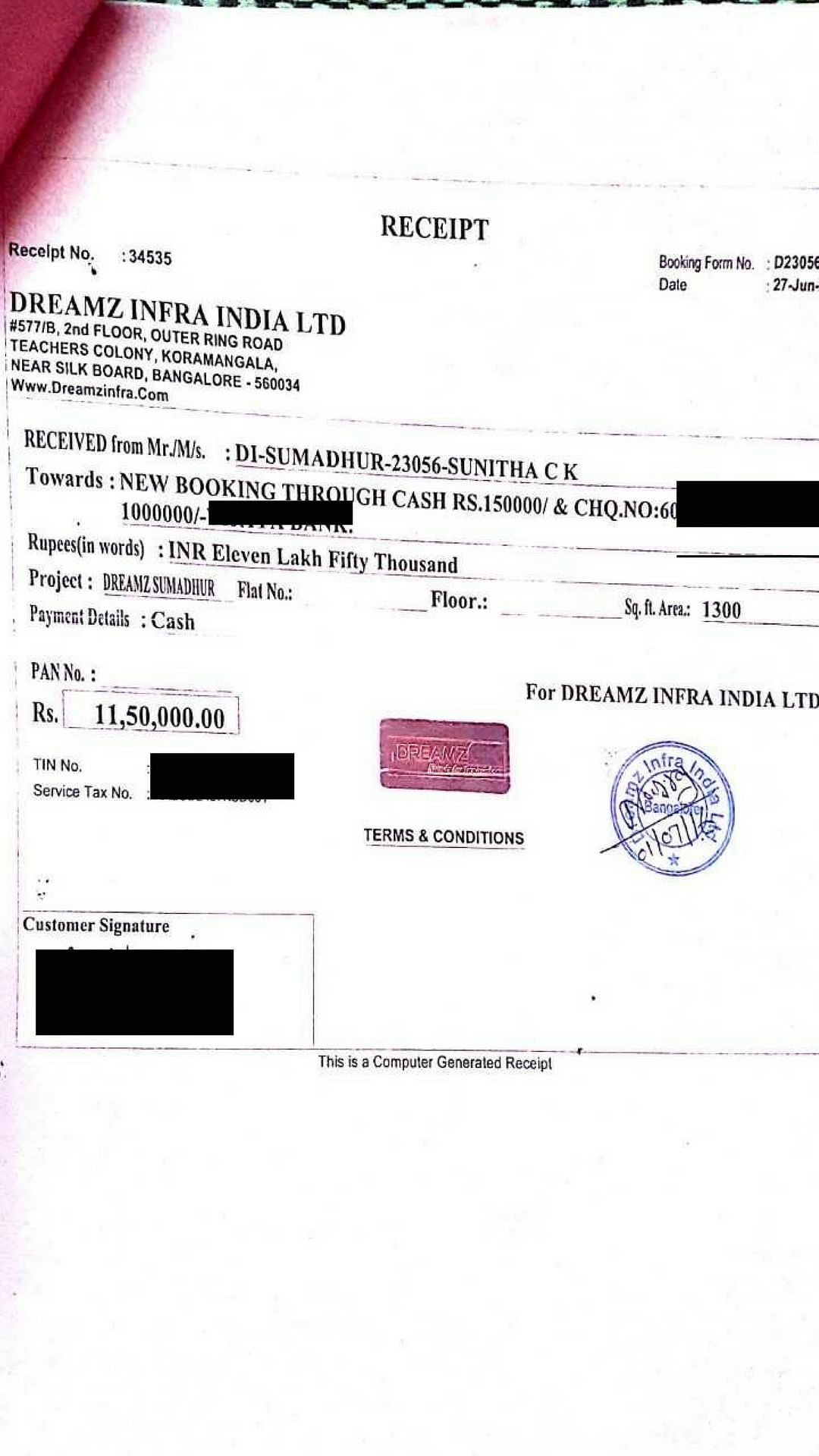 A receipt given to Sunitha.