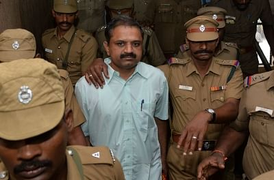 A file photo of Perarivalan, serving life sentence in the Rajiv Gandhi assassination case, being brought to the Rajiv Gandhi Government General Hospital (RGGGH) for medical examination in Chennai on 8 June 2015.