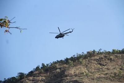 Theni: An Indian Air Force (IAF) helicopter pressed into rescue operations after a massive forest fire broke out in the Kurangani Hills of Tamil Nadu