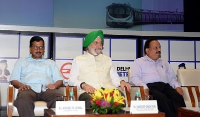 New Delhi: Delhi Chief Minister Arvind Kejriwal with Union Ministers Hardeep Singh Puri and Harsh Vardhan during the inauguration of Majlis Park – Durgabai Deshmukh South Campus section on Delhi Metro