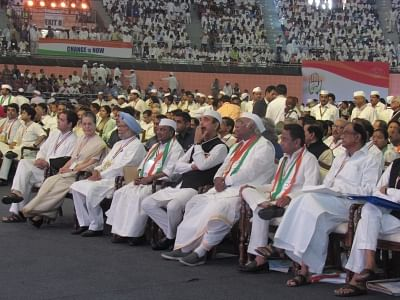 New Delhi: Congress leaders Rahul Gandhi, Sonia Gandhi, Manmohan Singh, A. K. Antony, Ghulam Nabi Azad, Mallikarjun Kharge, Kamal Nath and P. Chidambaram during the 84th plenary session of Indian National Congress at the Indira Gandhi Indoor Stadium in New Delhi on March 17, 2018. (Photo: IANS)