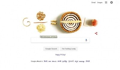 Google celebrates 30th anniversary of the mathematical constant Pi -- a fundamental element of several mathematical fields -- with a doodle of actual pies.