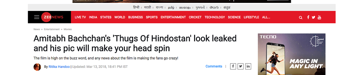 Webqoof: That's Not Amitabh Bachchan In 'Thugs of Hindostan'