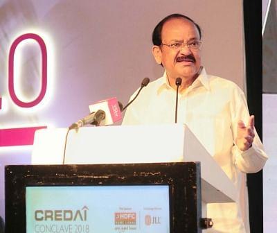 New Delhi: Vice President M. Venkaiah Naidu addresses during CREDAI Conclave, in New Delhi on March 15, 2018. (Photo: IANS/PIB)