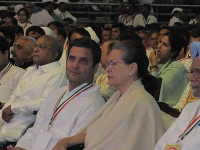 New Delhi: Congress President Rahul Gandhi in a conversation with his mother Sonia Gandhi during the 84th plenary session of Indian National Congress at the Indira Gandhi Indoor Stadium in New Delhi on March 17, 2018. (Photo: IANS)