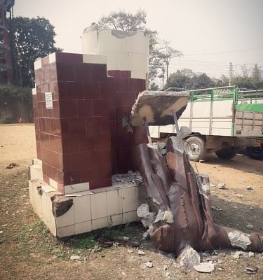 A statue of Lenin that was razed in Sabroom of Tripura on March 6, 2018.