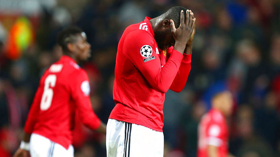 Manchester United's Romelu Lukaku reacts after missing a chance to score against Sevilla.