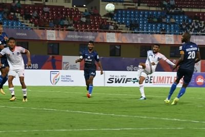 Bhubaneswar: Players in action during a Super Cup match between Delhi Dynamos FC and Churchill Brothers SC at Kalinga Stadium in Bhubaneswar on March 15, 2018. (Photo: IANS)