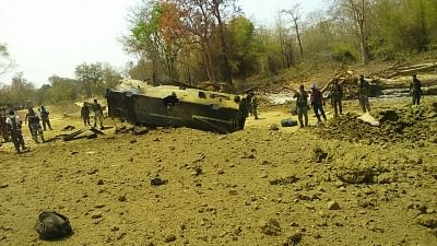 Sukma: A view of the 212 CRPF Battalion anti-landmine vehicle that was blown up by Maoists in Sukma district of Chhattisgarh on March 13, 2018. At least nine CRPF personnel were killed and two injured in the incident. (Photo: IANS)