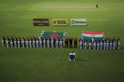 Colombo: Players stand for the national anthem ahead of the fifth match of 2018 Nidahas Twenty20 Tri-Series between India and Bangladesh at R.Premadasa Stadium in Colombo, Sri Lanka on March 14, 2018. (Photo: Surjeet Yadav/IANS)