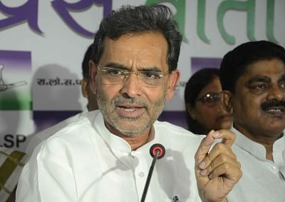 Minister of State for HRD Upendra Kushwaha addresses a press conference. (File Photo: IANS)