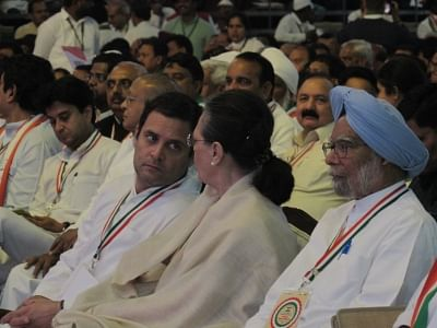 New Delhi: Congress leaders Rahul Gandhi, Sonia Gandhi and Manmohan Singh during the 84th plenary session of Indian National Congress at the Indira Gandhi Indoor Stadium in New Delhi on March 17, 2018. (Photo: IANS)