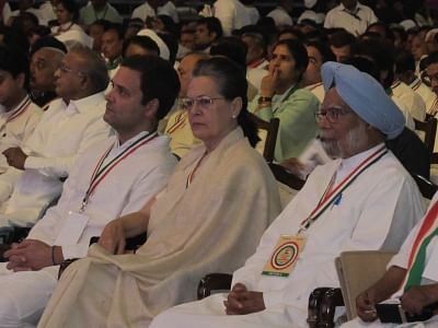 New Delhi: Congress leaders Rahul Gandhi, Sonia Gandhi and Manmohan Singh during the 84th plenary session of AICC at the Indira Gandhi Indoor Stadium in New Delhi on March 17, 2018. (Photo: IANS)