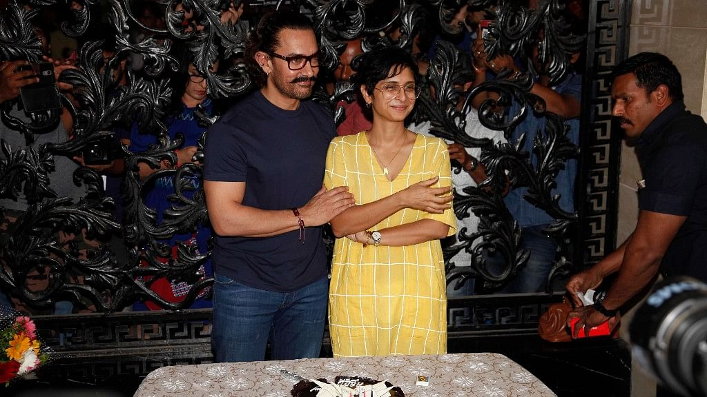 Aamir Khan celebrated his birthday with wife Kiran Rao and the media.