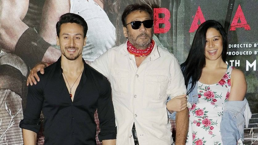 Jackie Shroff poses with his kids, Tiger and Krishna.