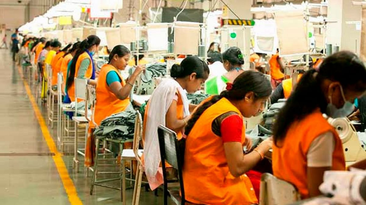 Female garment workers at an assembly line at a factory in Bengaluru.