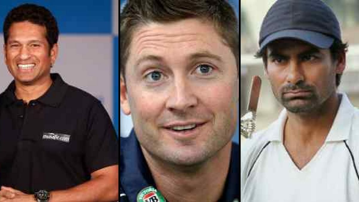 Sachin Tendulkar, Michael Clarke and Mohd Kaif (left to right).