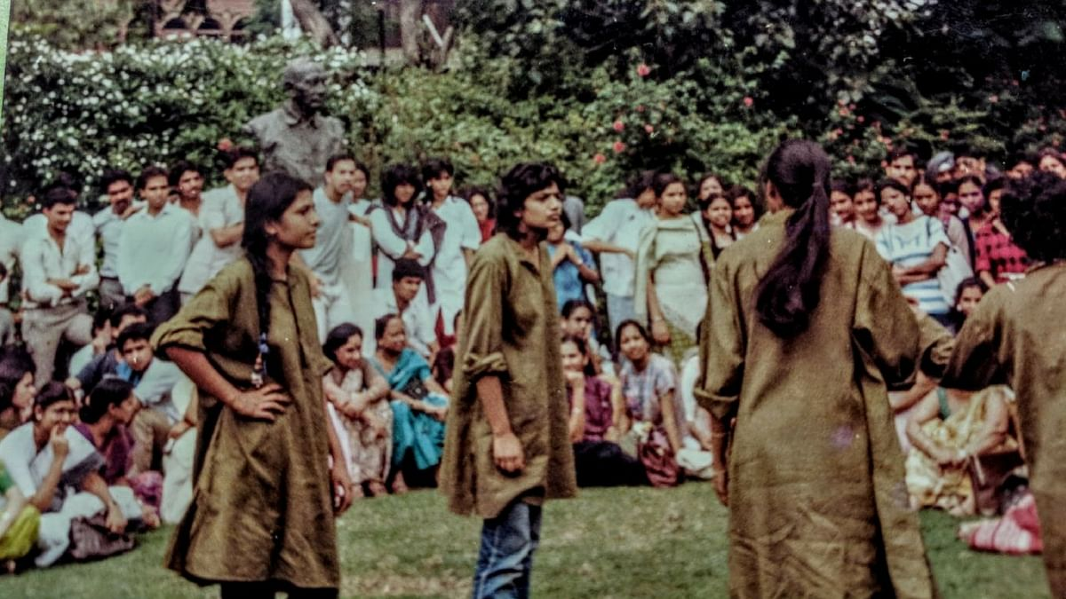 The author with her street theatre troupe in college.