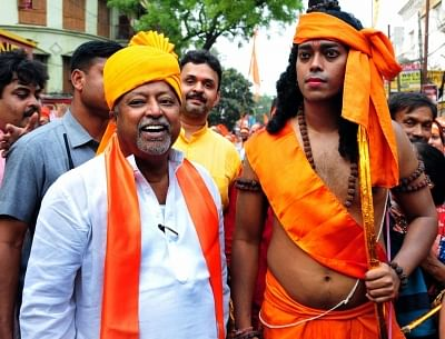 BJP leader Mukul Roy during a party rally on Ram Navami in Kolkata, on 25 March 2018.
