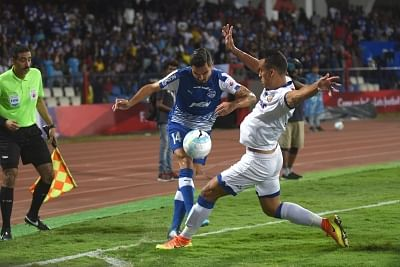 Bengaluru: Players in action during ISL Final between Chennaiyin FC and Bengaluru FC at Kanteerava Stadium in Bengaluru, on March 17, 2018. (Photo: IANS)