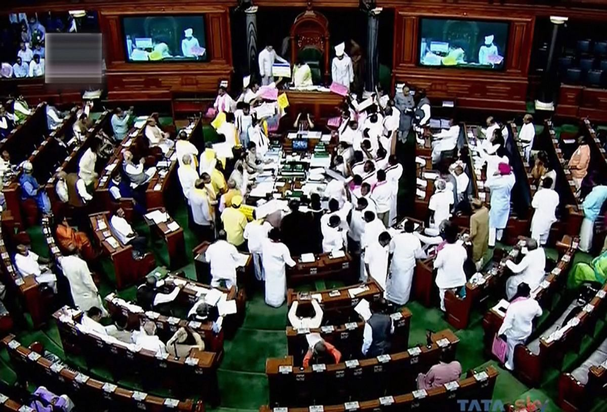 Commotion in the Lok Sabha over clashing demands.