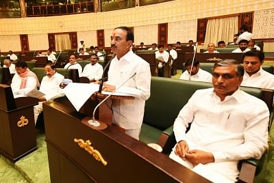 Hyderabad: Telangana Finance Minister Etela Rajender presents state budget for FY 2018-19  in Hyderabad, on March 15, 2018. (Photo: IANS)