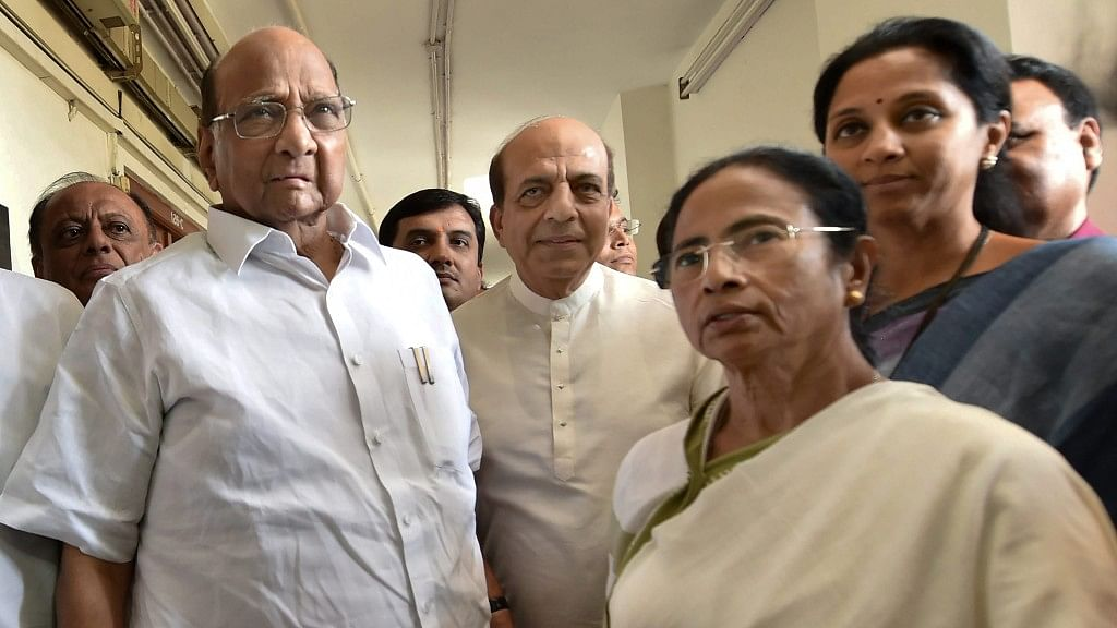 West Bengal Chief Minister and TMC head Mamata Banerjee with NCP chief Sharad Pawar. Photo taken in March 2019.