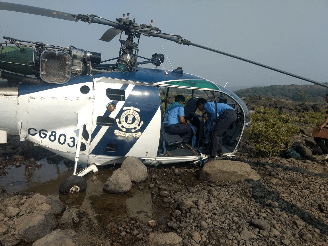 Indian Coast Guard Chopper, Chetak CG 803, was on a routine sortie before it developed a technical snag and crash landed near Murud in Alibagh.