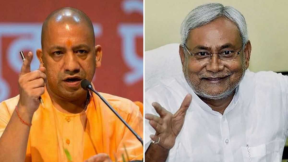 UP CM Yogi Adityanath (left) and Bihar CM Nitish Kumar (right).