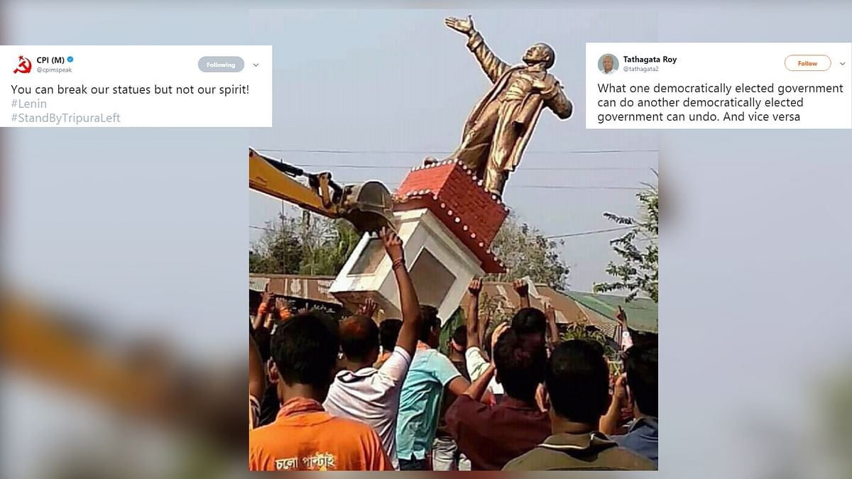 Statue of Lenin being taken down in Tripura's Belonia, two days after the BJP's victory in the state.