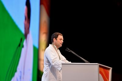 New Delhi: Congress President Rahul Gandhi addresses during the 84th plenary session of Indian National Congress at the Indira Gandhi Indoor Stadium in New Delhi on March 17, 2018. (Photo: IANS)