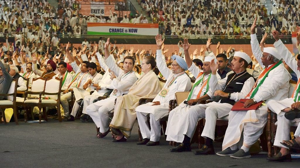 UPA chairperson Sonia Gandhi, Congress President Rahul Gandhi, former Prime Minister Manmohan Singh and other Congress leaders.