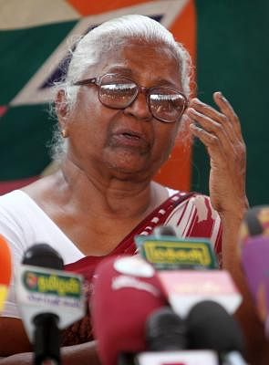Arputhammal, mother of Perarivalan, one of the seven convicts in the Rajiv Gandhi assassination case during the press conference in Chennai on April 25, 2014. (Photo: IANS)