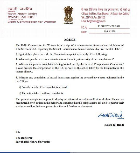 The letter addressed to the JNU Registrar.