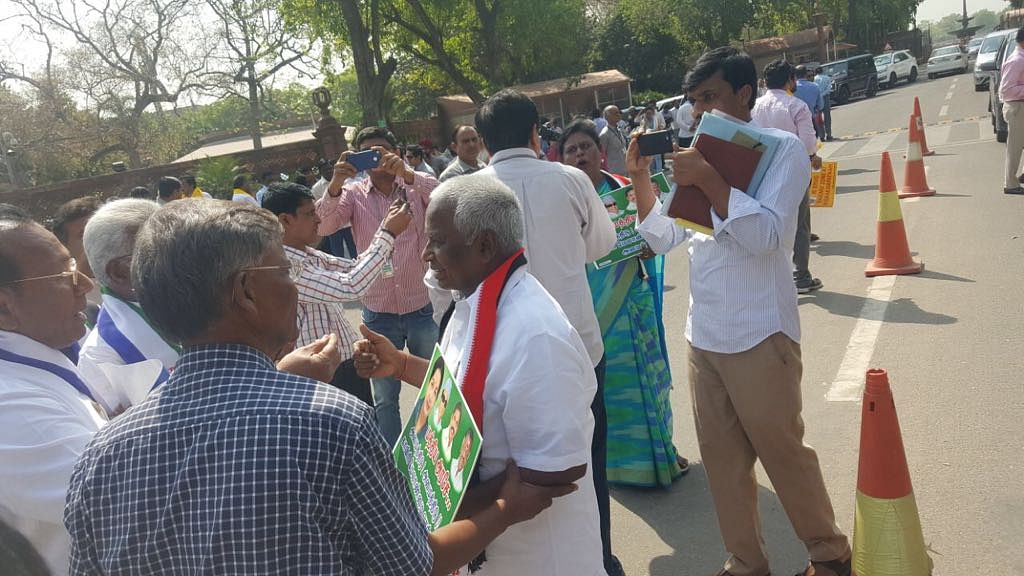 AIADMK leaders in talks with YSRCP leaders outside Parliament.