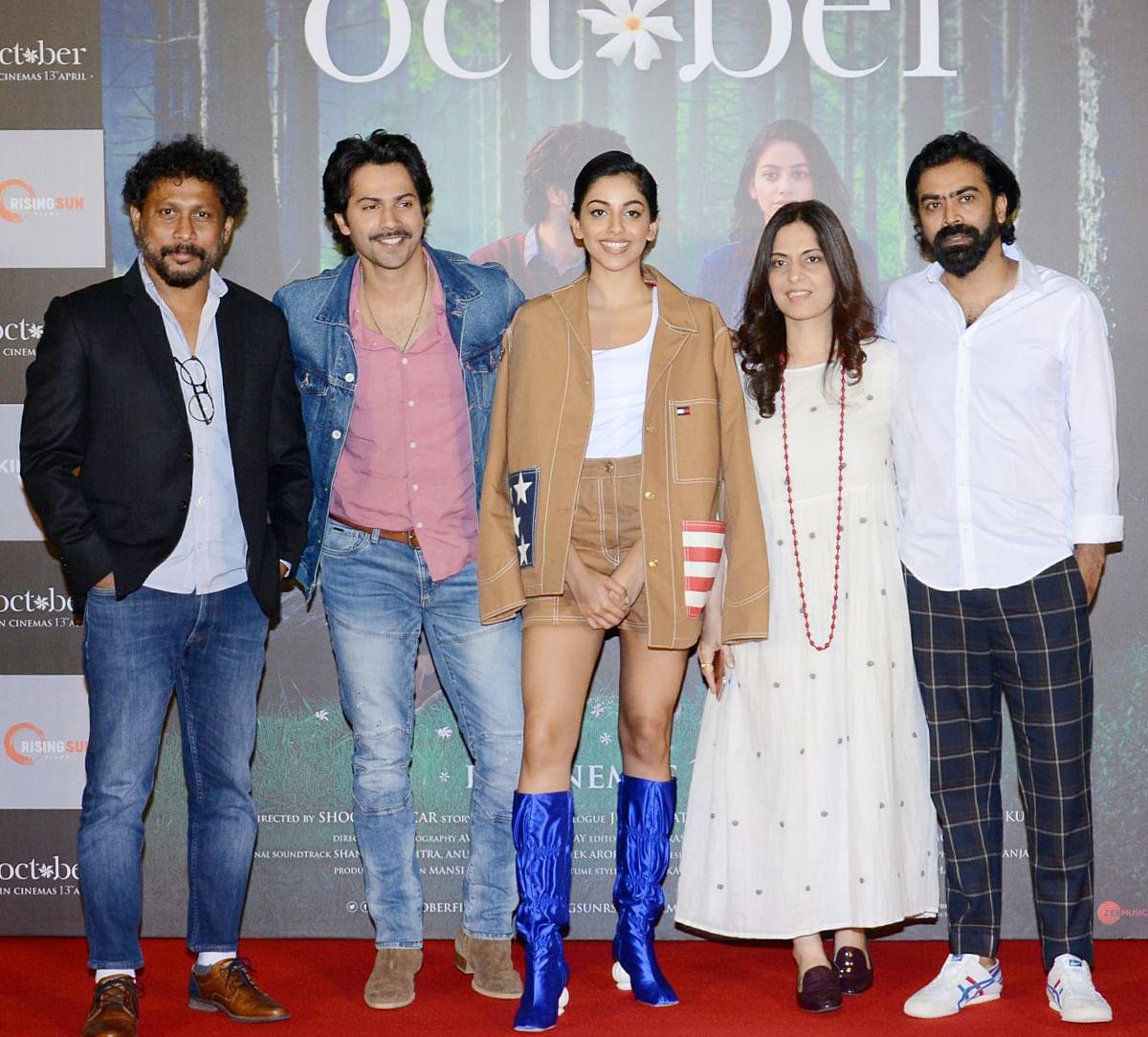 Shoojit Sircar, Varun Dhawan, Banita Sandhu, Juhi Chaturvedi and Ronnie Lahiri at the launch of the <i>October </i>trailer.