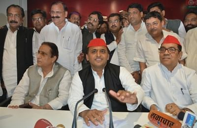 Lucknow: Samajwadi Party leader Akhilesh Yadav addresses a press conference in Lucknow on March 14, 2018. (Photo: IANS)