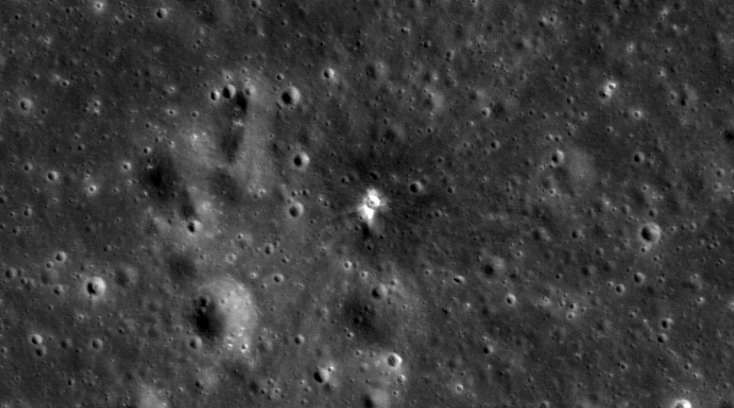 The craters which  formed on the surface of the moon after the 17 March collision.